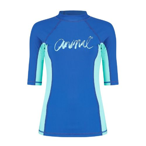 ANIMAL WOMENS RASH TOP.VICKIE BLUE UPF50+ SUN PROTECTION GUARD T SHIRT 8S 343 P1